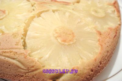 Быстрый пирог с ананасами