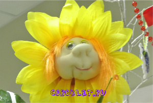 Пупс-цветок из капронового носка