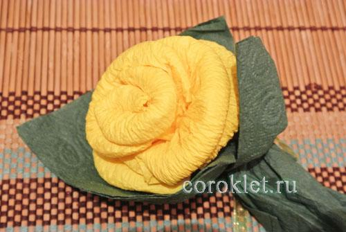 Роза из салфетки схема