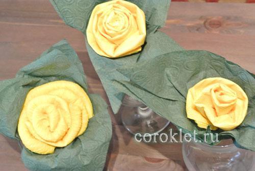 Мастер класс роза из салфетки