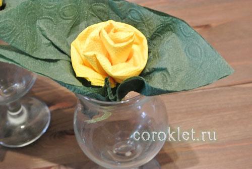 Сделать розу из бумажной салфетки