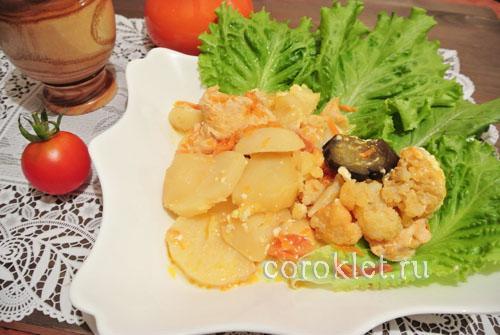 Мультиварка овощное рагу с курицей