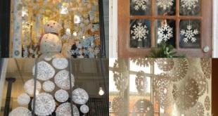Как украсить окно снежинками