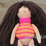 Как связать свитер для куклы Снежки