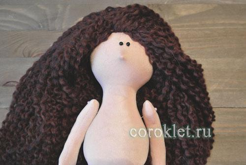 Волосы из ниток кукла Большеножка